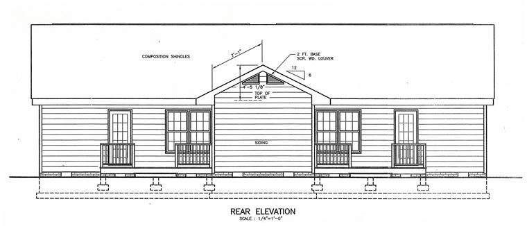 Multi-Family Plan 45360 with 4 Beds, 4 Baths Rear Elevation