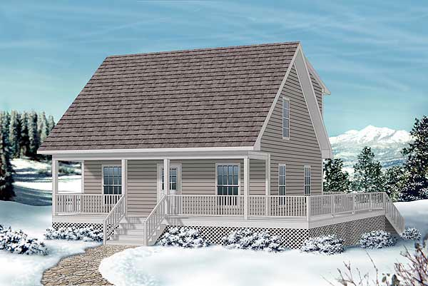 Cape Cod , Narrow Lot , Elevation of Plan 45361