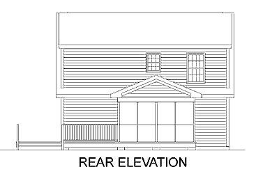 Cape Cod , Narrow Lot , Rear Elevation of Plan 45361