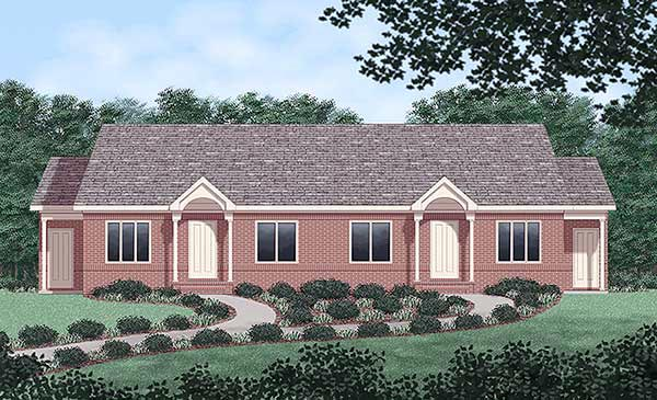 Multi-Family Plan 45362 Elevation