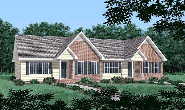Ranch Multi-Family Plan 45363 Elevation