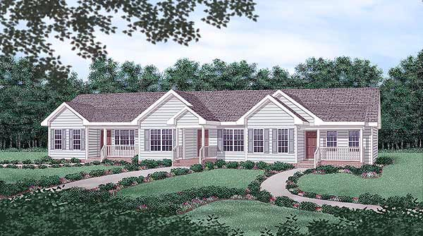 Multi-Family Plan 45364 Elevation