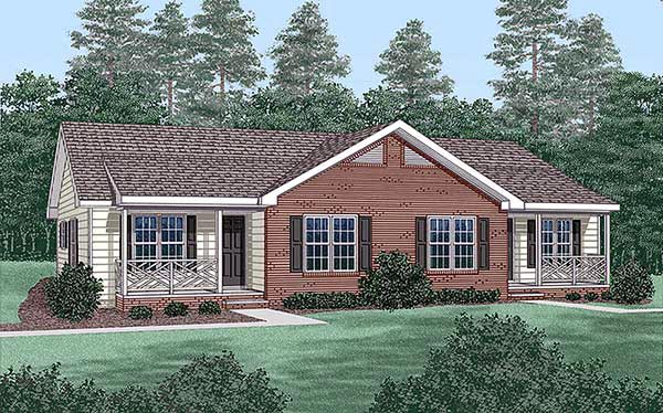 Multi-Family Plan 45365 Elevation