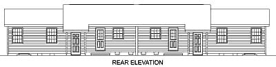 Ranch Multi-Family Plan 45366 Rear Elevation