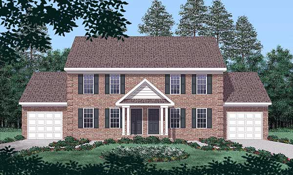 Colonial Multi-Family Plan 45369 Elevation