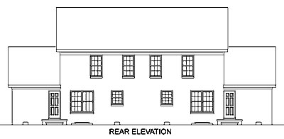 Colonial Multi-Family Plan 45369 Rear Elevation