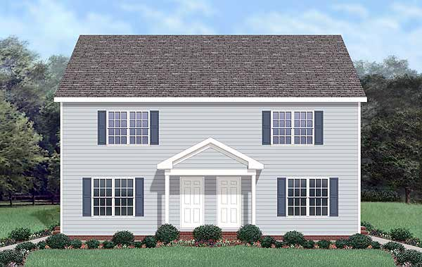 Colonial Multi-Family Plan 45370 Elevation