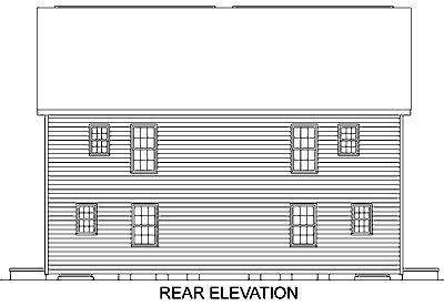 Colonial Multi-Family Plan 45370 Rear Elevation