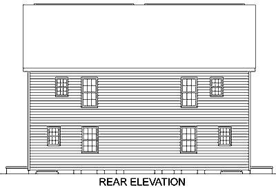 Colonial Multi-Family Plan 45370 Rear Elevation