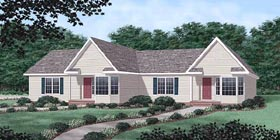 Multi-Family Plan 45371 | Ranch Style Multi-Family Plan with 2222 Sq Ft, 4 Bed, 4 Bath, 2 Car Garage Elevation
