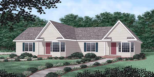 Ranch Multi-Family Plan 45371 Elevation