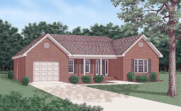 One-Story, Traditional House Plan 45374 with 3 Beds, 2 Baths, 1 Car Garage Front Elevation