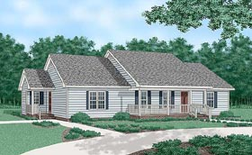 Ranch House Plan 45375 with 4 Beds, 3 Baths Elevation