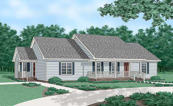 One-Story, Ranch House Plan 45375 with 4 Beds, 3 Baths Elevation