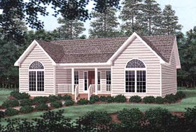 House Plan 45377 | Traditional Style Plan with 1316 Sq Ft, 3 Bedrooms, 2 Bathrooms Elevation