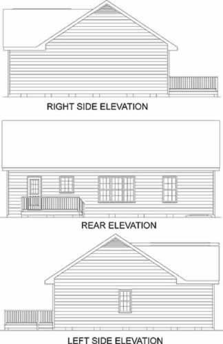 Traditional House Plan 45377 with 3 Beds, 2 Baths Rear Elevation