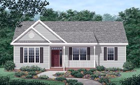 House Plan 45378 | Traditional Style Plan with 1363 Sq Ft, 3 Bedrooms, 2 Bathrooms Elevation