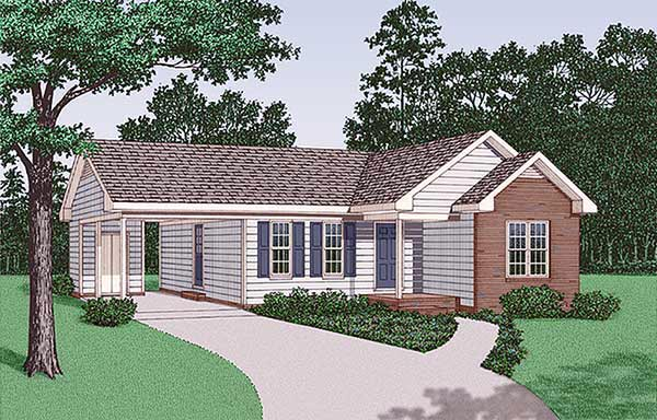 Ranch House Plan 45381 with 2 Beds, 1 Baths, 1 Car Garage Elevation