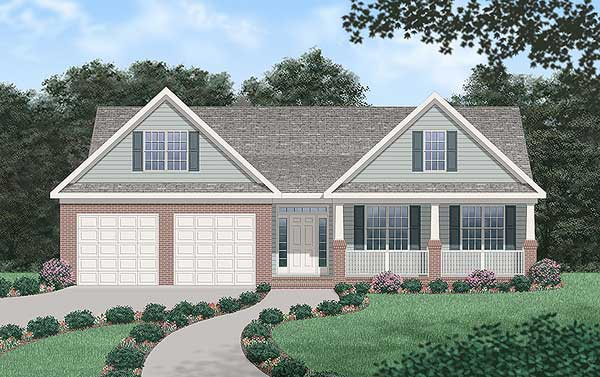 Traditional House Plan 45384 with 3 Beds, 2 Baths, 2 Car Garage Elevation