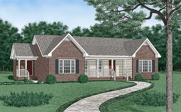 One-Story, Traditional House Plan 45385 with 3 Beds, 2 Baths Elevation