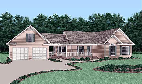 Ranch House Plan 45386 with 3 Beds, 2 Baths, 2 Car Garage Elevation