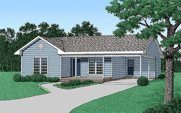 One-Story , Ranch , Elevation of Plan 45387