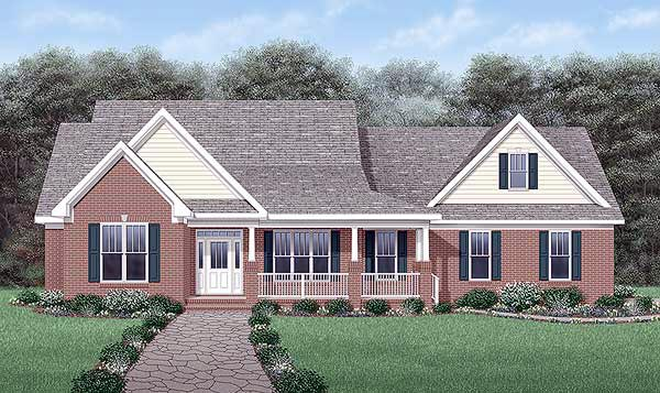 One-Story Traditional Elevation of Plan 45390