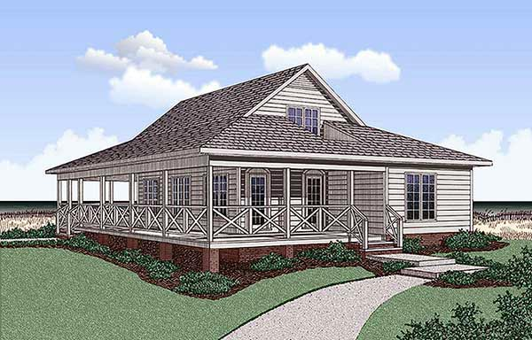 Southern House Plan 45392 with 5 Beds, 3 Baths Elevation