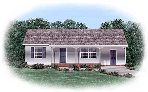 Ranch House Plan 45393 with 2 Beds, 1 Baths Elevation