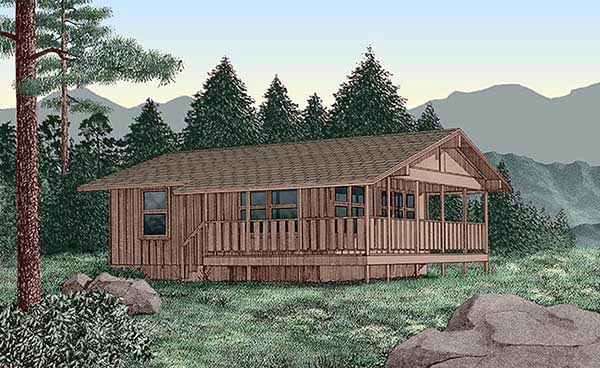 House Plan 45394 | Country Style Plan with 720 Sq Ft, 2 Bedrooms, 1 Bathrooms Elevation