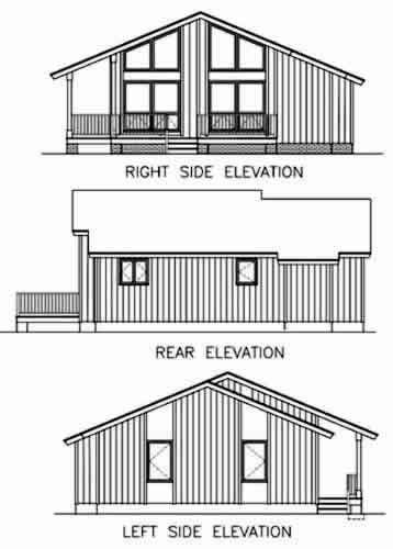 Contemporary House Plan 45395 Rear Elevation