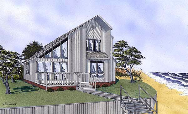 Contemporary Narrow Lot Elevation of Plan 45397