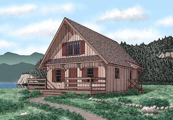 Narrow Lot House Plan 45400 with 3 Beds, 2 Baths Elevation