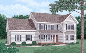 Traditional House Plan 45410 with 4 Beds, 3 Baths, 2 Car Garage Elevation