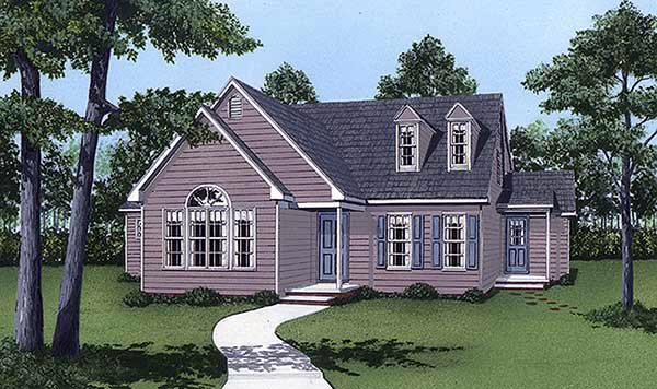 House Plan 45412 | Cape, Cod Style House Plan with 1592 Sq Ft, 3 Bed, 3 Bath Elevation