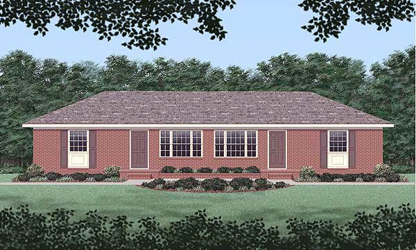 Ranch Multi-Family Plan 45418 Elevation