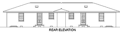 Ranch Multi-Family Plan 45418 Rear Elevation