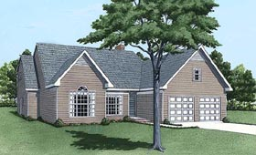 House Plan 45421 | Traditional Style Plan with 1760 Sq Ft, 3 Bedrooms, 3 Bathrooms, 2 Car Garage Elevation