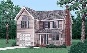 House Plan 45422 | Traditional Style Plan with 1485 Sq Ft, 3 Bedrooms, 3 Bathrooms, 1 Car Garage Elevation