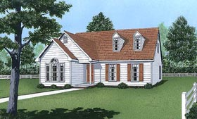 House Plan 45423 | Cape Cod Style Plan with 1550 Sq Ft, 3 Bed, 3 Bath Elevation
