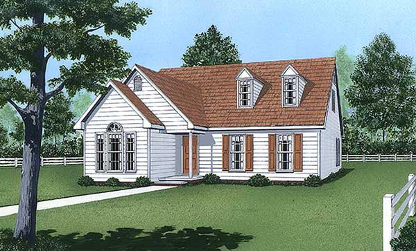 Cape Cod, Narrow Lot House Plan 45423 with 3 Beds, 3 Baths Elevation