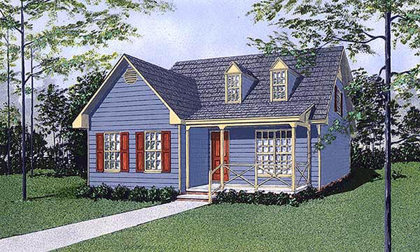 Cape Cod Narrow Lot Elevation of Plan 45428