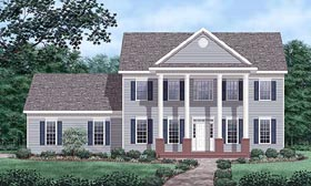 House Plan 45431 | Colonial Style House Plan with 2254 Sq Ft, 4 Bed, 3 Bath, 2 Car Garage Elevation