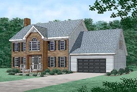 Colonial House Plan 45432 with 3 Beds, 3 Baths, 2 Car Garage Elevation