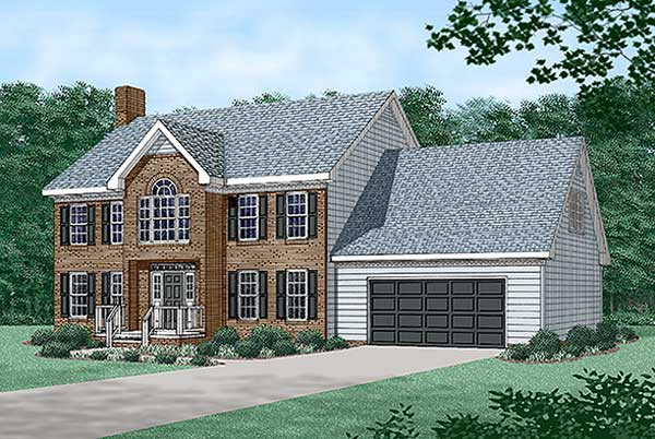 Colonial House Plan 45432 with 3 Beds , 3 Baths , 2 Car Garage Elevation