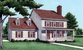 House Plan 45435 | Country Style Plan with 1488 Sq Ft, 3 Bedrooms, 2 Bathrooms, 2 Car Garage Elevation