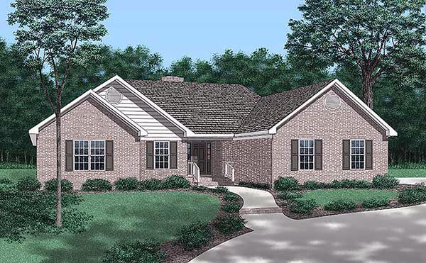 Traditional House Plan 45438 with 3 Beds, 2 Baths, 2 Car Garage Elevation