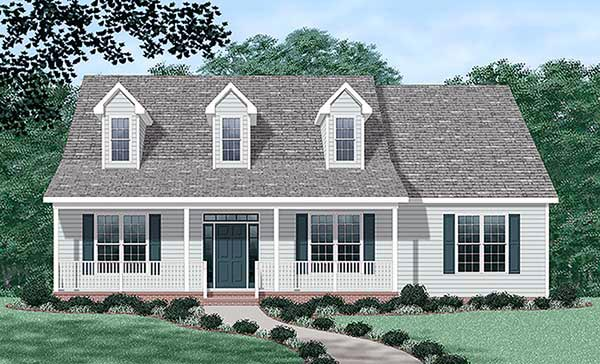 Cape Cod One-Story Elevation of Plan 45440