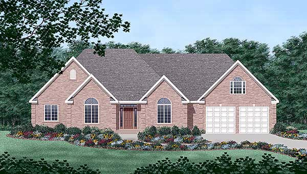One-Story, Traditional House Plan 45441 with 4 Beds, 3 Baths, 2 Car Garage Elevation