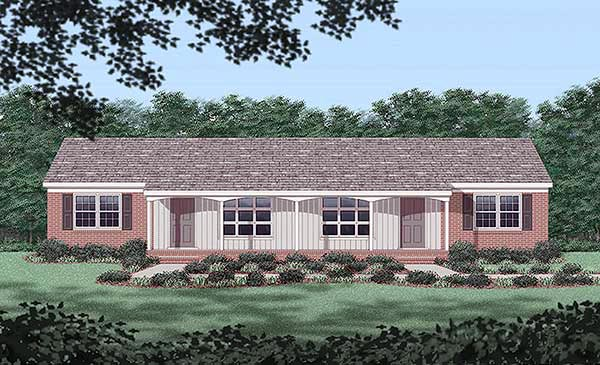 One-Story Multi-Family Plan 45446 with 6 Beds, 2 Baths Elevation